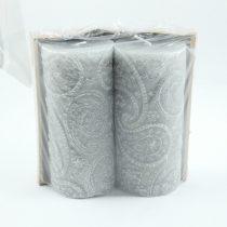 Szürke Ezüst Virágmintás Henger Gyertya 6,5x14cm