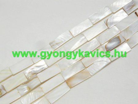 Téglalap Fehér Kagyló Gyöngy Gyöngyfüzér 27,5x11mm