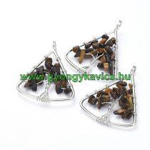 Ezüst Színű Tigrisszem Életfa Ásvány Háromszög Medál 40x30mm