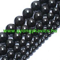 Fekete Turmalin Ásványgyöngy Gyöngyfüzér 10mm