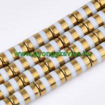 Arany Színű Csíkos Üveggyöngy Oszlop 10x20mm
