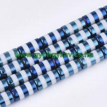 Kék Színű Csíkos Üveggyöngy Oszlop 10x20mm