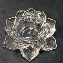 Üveg Lótuszvirág Gyertyatartó 12x5,5cm