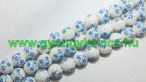 Világoskék Virágos Porcelán Gyöngy 10mm