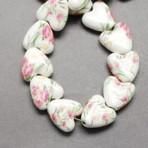 Virágos Szív Porcelán Gyöngy 15x7mm