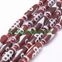 Vörös Fehér Tibeti Dzi Achát (2) Henger Ásványgyöngy Gyöngyfüzér 29-30x9-12mm