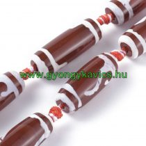 Vörös Fehér Tibeti Dzi Achát Henger Ásványgyöngy 29-30x9-12mm