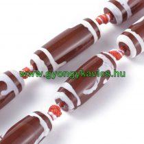 Vörös Fehér Tibeti Dzi Achát Henger Ásványgyöngy Gyöngyfüzér 29-30x9-12mm