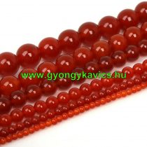 Karneol (vörös) Ásványgyöngy Gyöngyfüzér 10mm