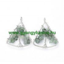 Ezüst Színű Zöld Aventurin Életfa Háromszög Ásvány Medál 40x30mm