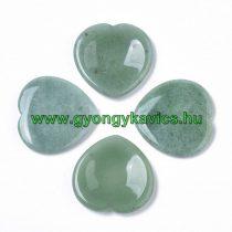 Zöld Aventurin Ásvány Masszázs Masszírozó Szív Marokkő 40x40x6mm