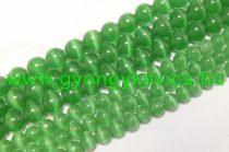 Zöld Macskaszem (Üveg) (sötét) Ásványgyöngy Gyöngyfüzér 6mm