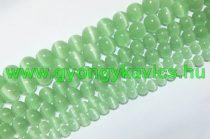 Zöld Macskaszem (Üveg) (világos) Ásványgyöngy Gyöngyfüzér 6mm