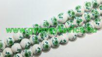 Zöld Virágos Porcelán Gyöngyfüzér 10mm