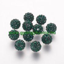 Zöld Színű Nyaklánc Karkötő Ékszer Dísz Polymer Polimer Shamballa Strassz Kövekkel 10mm