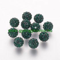 Zöld Színű FÜLBEVALÓ ALAP (félig átfúrt) Ékszer Dísz Polymer Polimer Shamballa Strassz Kövekkel 8mm
