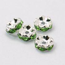 Ezüst Színű Hullámos Szélű Nyaklánc Karkötő Ékszer Dísz Zöld Strassz Kövekkel 6mm