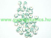 Zöld Virágos Porcelán Gyöngy 8mm